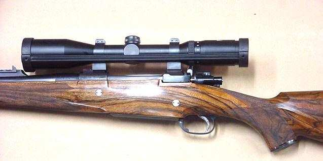 378 Square Bridged Mauser action with custom english walnut stock with Schmidt & Bender scope