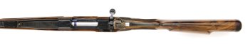 300 Win Mag Square Bridged Custom Rifle with iron sights and leather wrapped pad